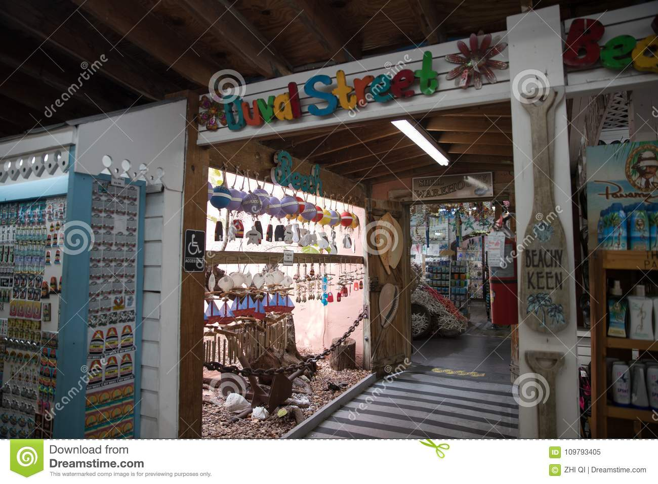 2628063c8c15 Shells And Souvenirs Shop In Key West. Editorial Image - Image of ...
