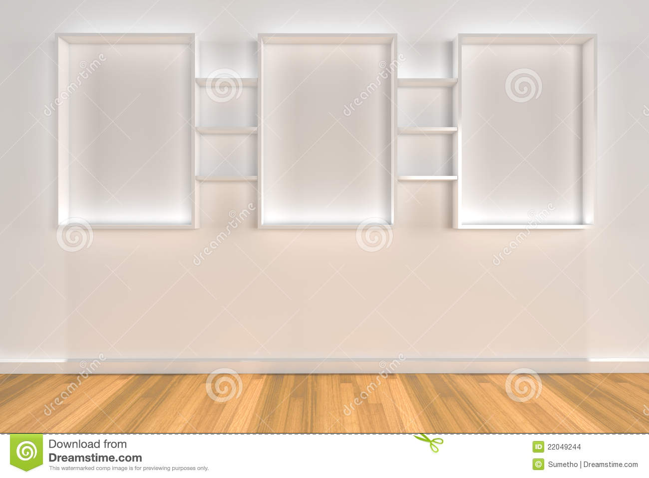 Shelves On Color Wall With Wood Floor Stock Images - Image: 22049244