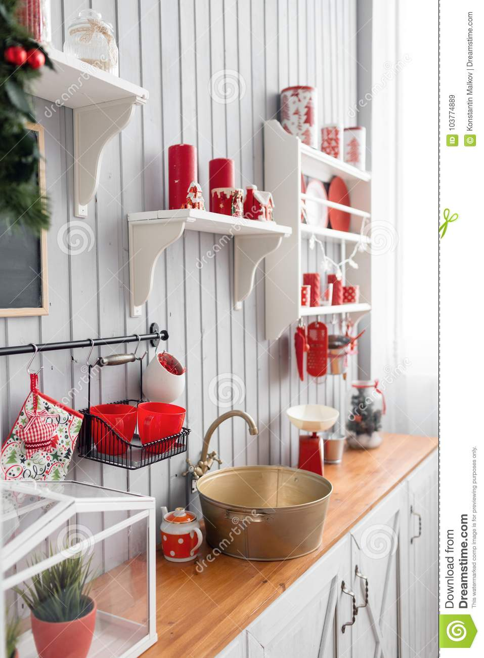 Shelves With Dishes Interior Light Grey Kitchen And Red Christmas Decor Preparing Lunch At Home On The Kitchen Concept Stock Image Image Of Retro Decoration 103774889