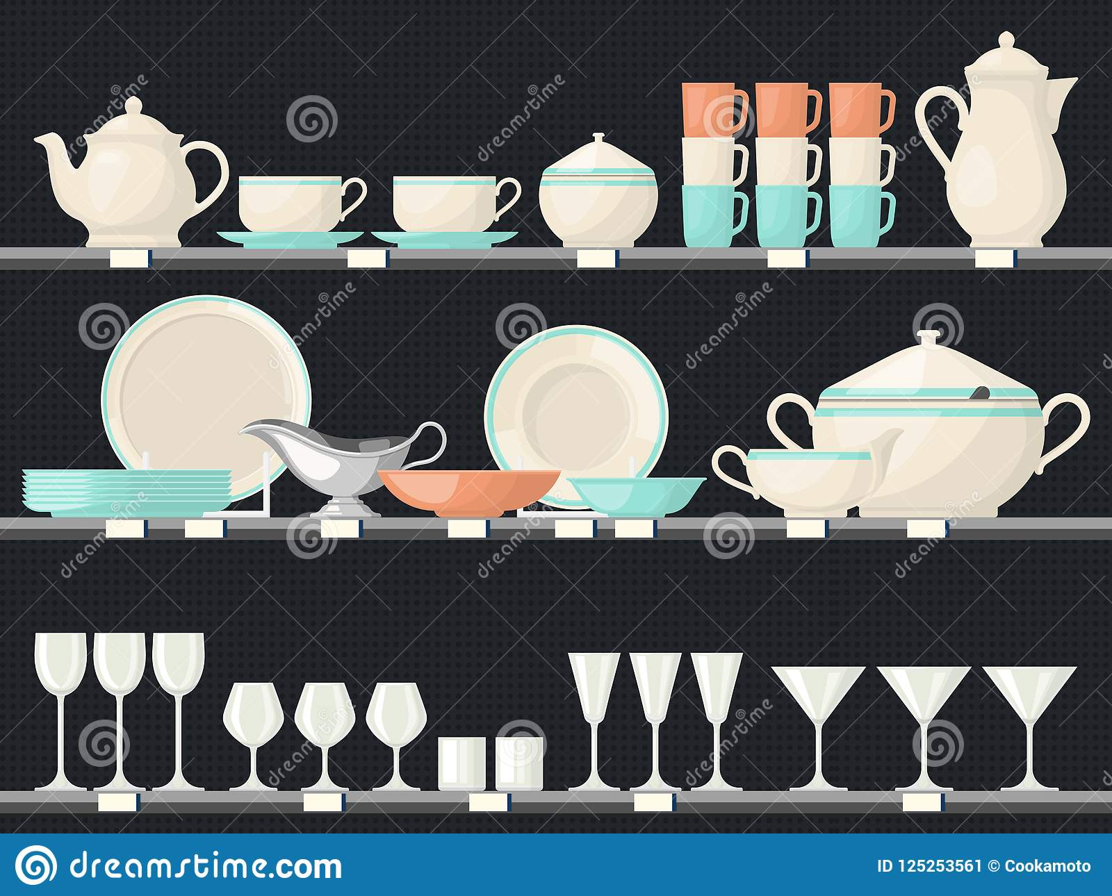 Shelves With Glassware Dish Or Kitchen Utensil Stock Vector ...