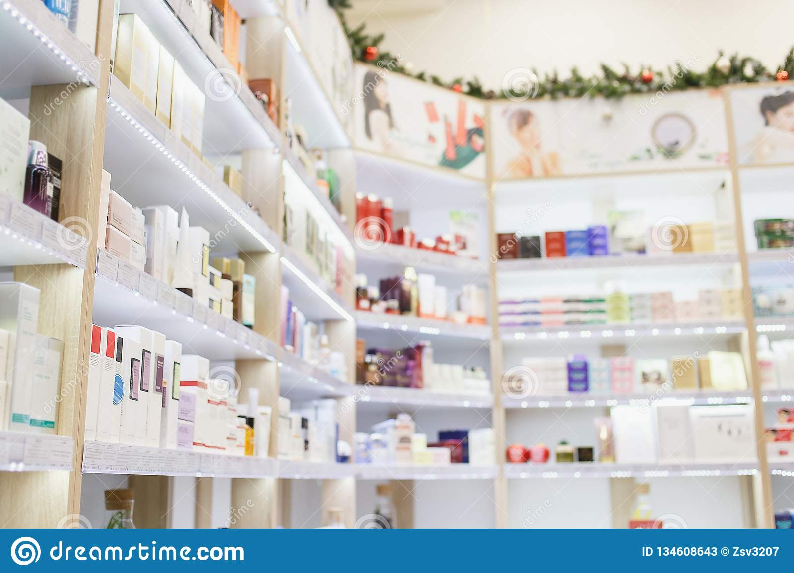 Shelves With Skin And Hair Care Products In A Cosmetic Store Stock Image Image Of Hair Skin 134608643