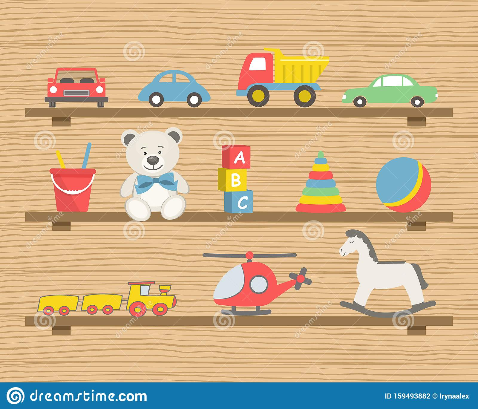 Shelves With Toys There Are Cars A Helicopter Teddy Bear A Rocking Horse And Other Items Stock Vector Illustration Of Gift Cube 159493882