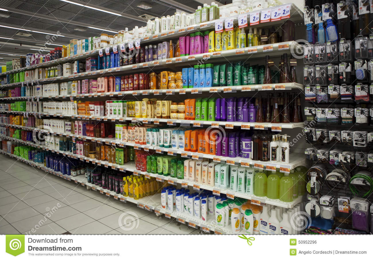 Shelving With Hair Products And Beauty Store Editorial