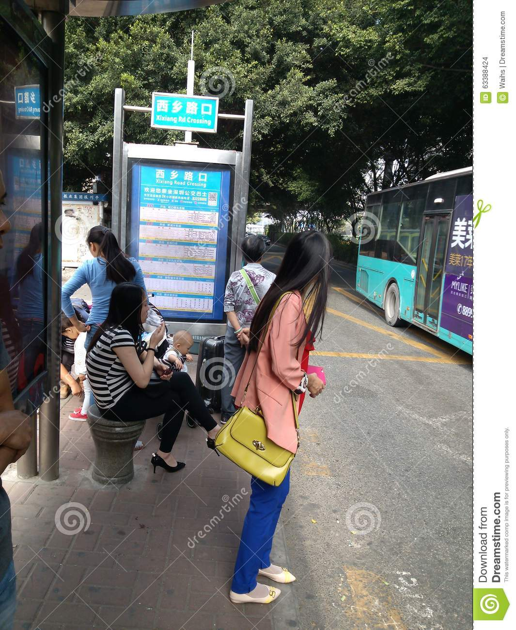 Chinesse Bus: Shenzhen, China: Bus Shelters Editorial Stock Image