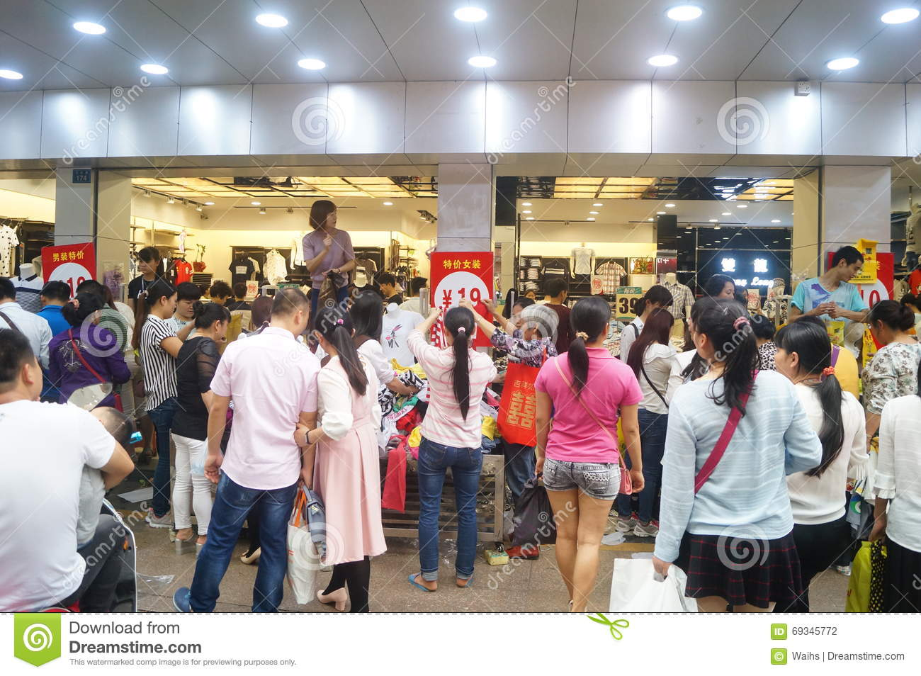 Shenzhen china clothing store crowded shopping editorial for Shopping in cina