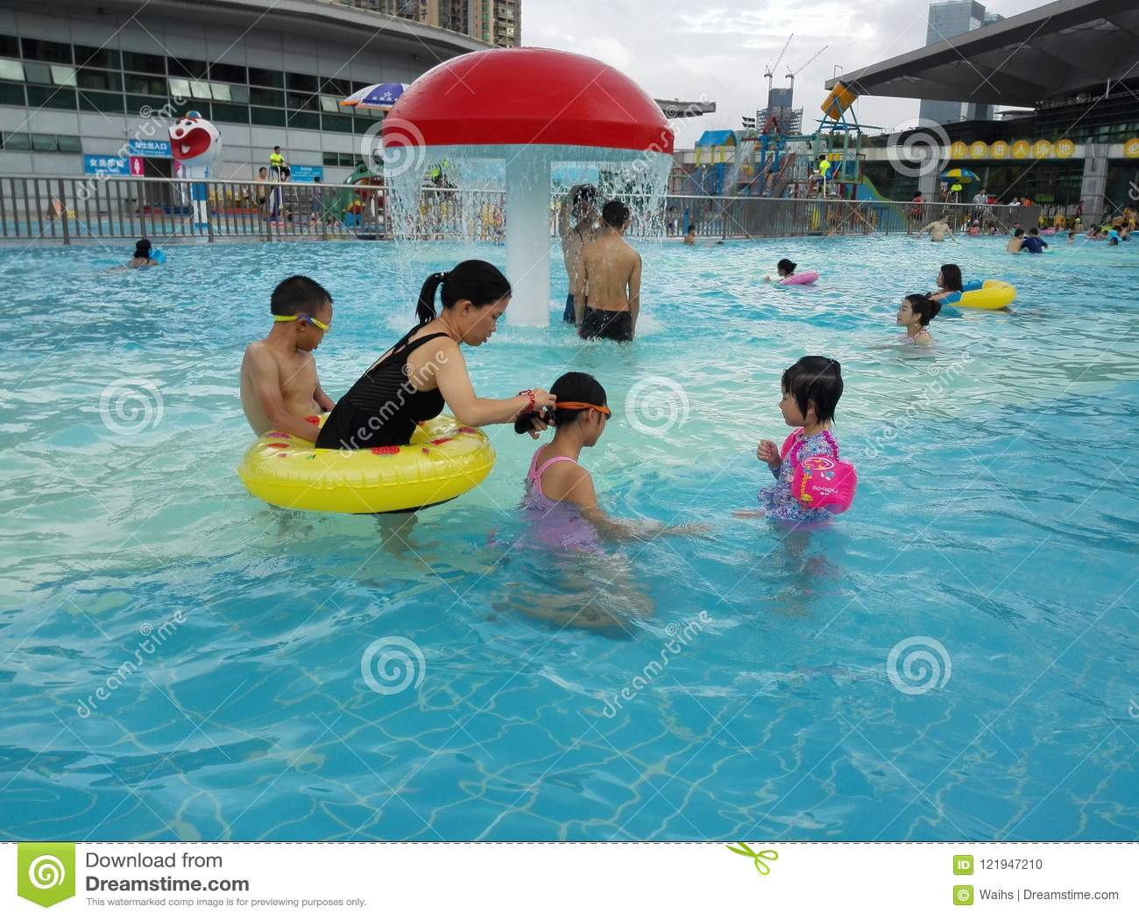 2bd16a9839 Shenzhen, China: Gymnasium Swimming Pool, Men, Women And Children ...