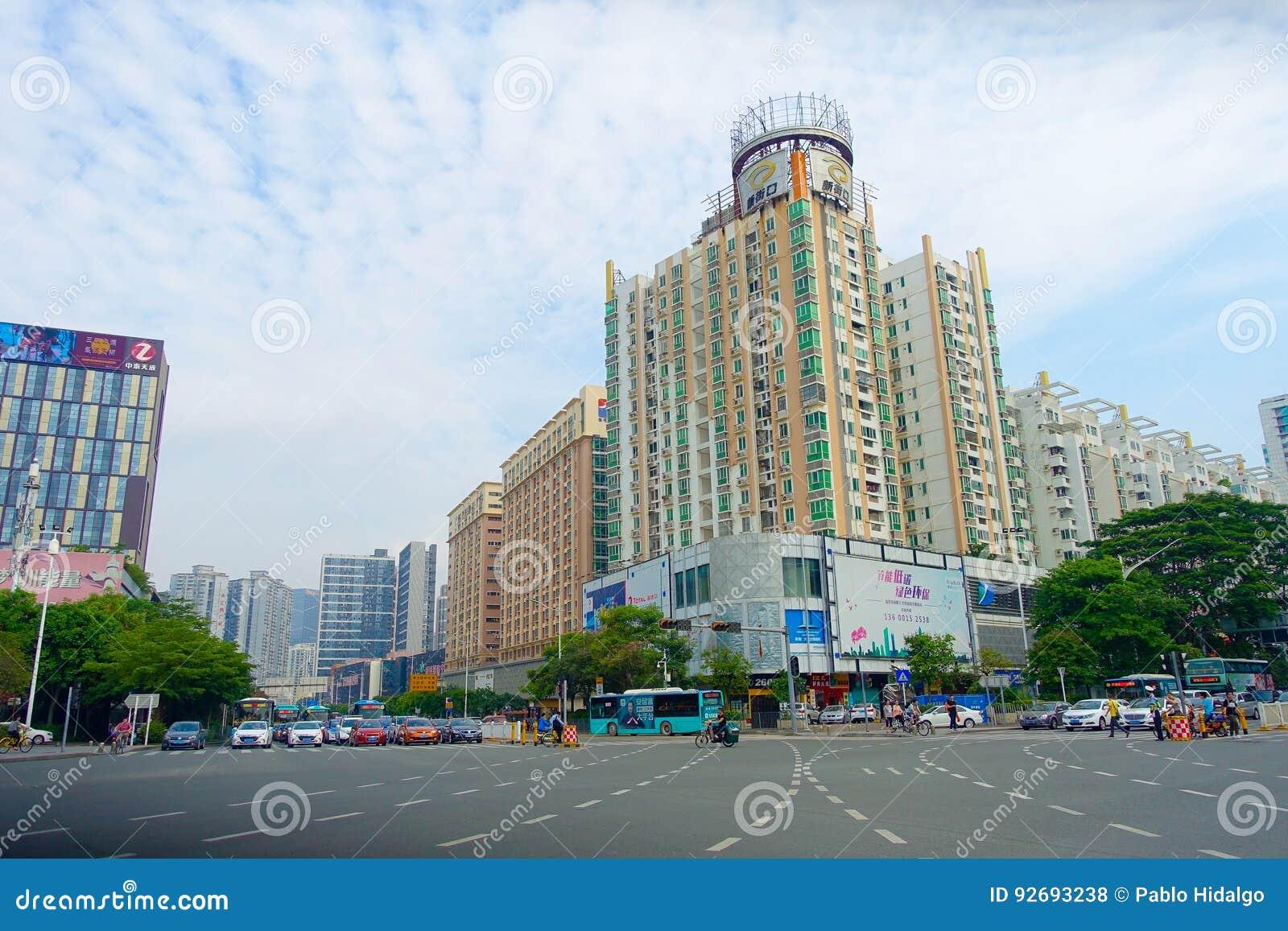 SHENZHEN, CHINE 11 MAI 2017 : Vue magnifique du centre ville ville de Shenzhen, Chine dans le secteur central