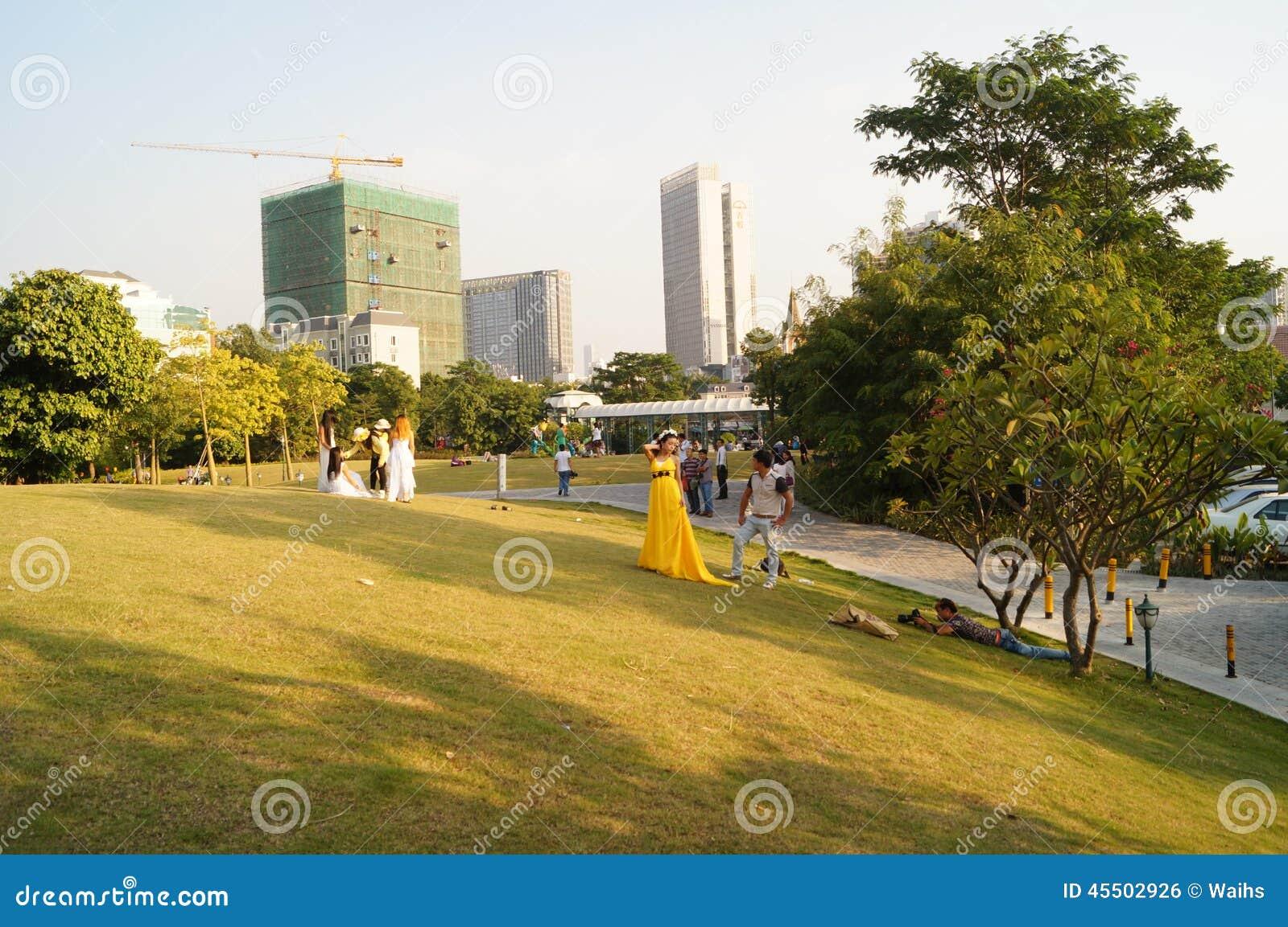 Shenzhen, Chiny: Holandia kwiatu miasteczka sceneria