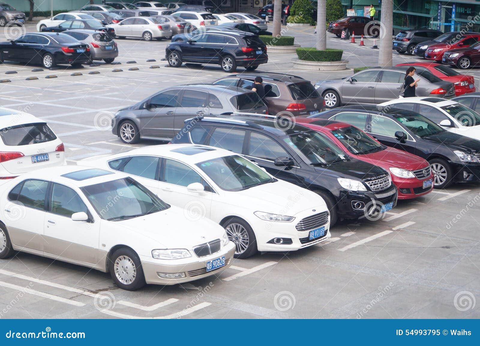 Shenzhen Kina: parkeringsplats