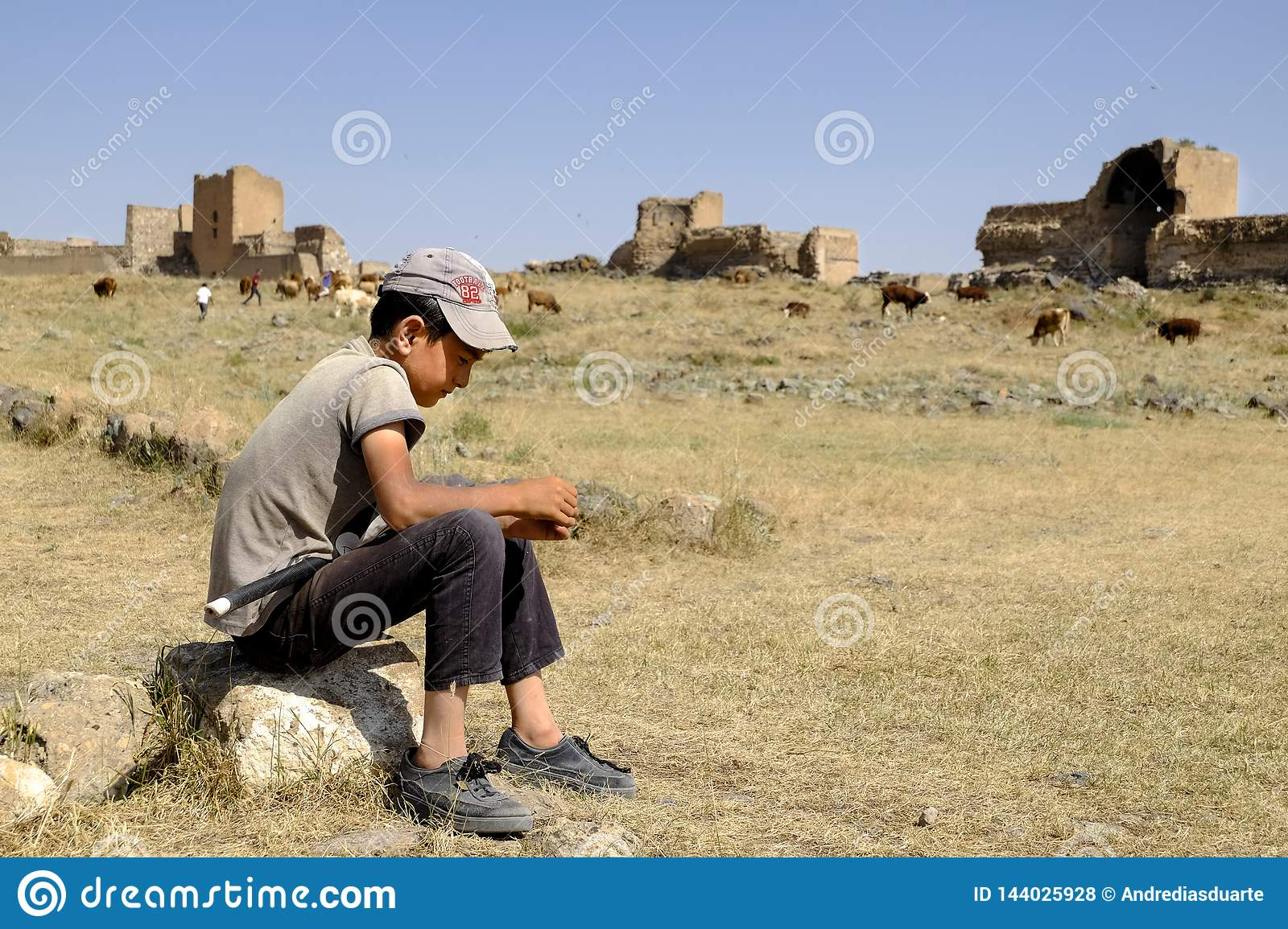 Shepherd kid waiting for the cows to graze