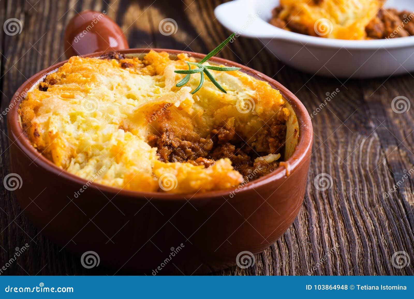 Shepherd la empanada del ` s, plato británico tradicional