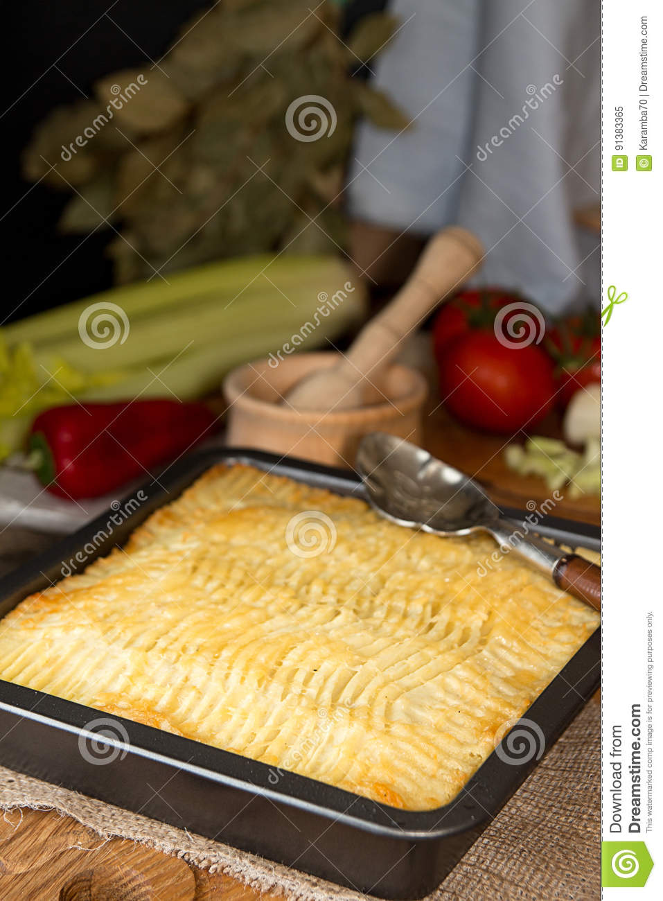 Royalty-Free Stock Photo & Shepherd`s Pie Traditional English Dish. Recipe With Minced Beef ...