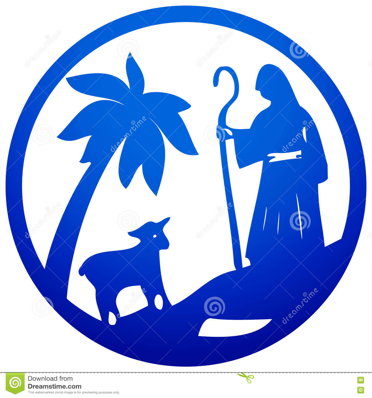 Shepherd Gold On Blue Silhouette Ornament: Benediction Cartoons, Illustrations & Vector Stock Images