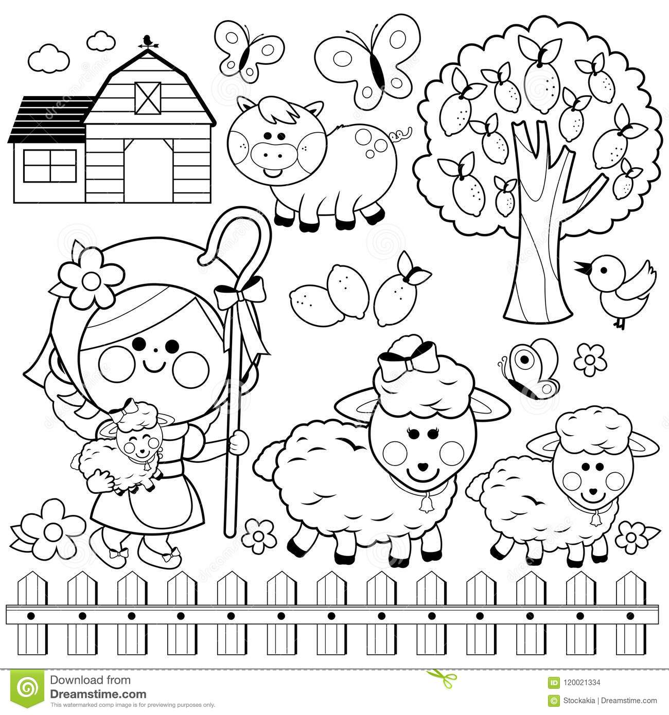 Download Shepherdess Girl And Animals At The Farm Black White Coloring Book Page Stock