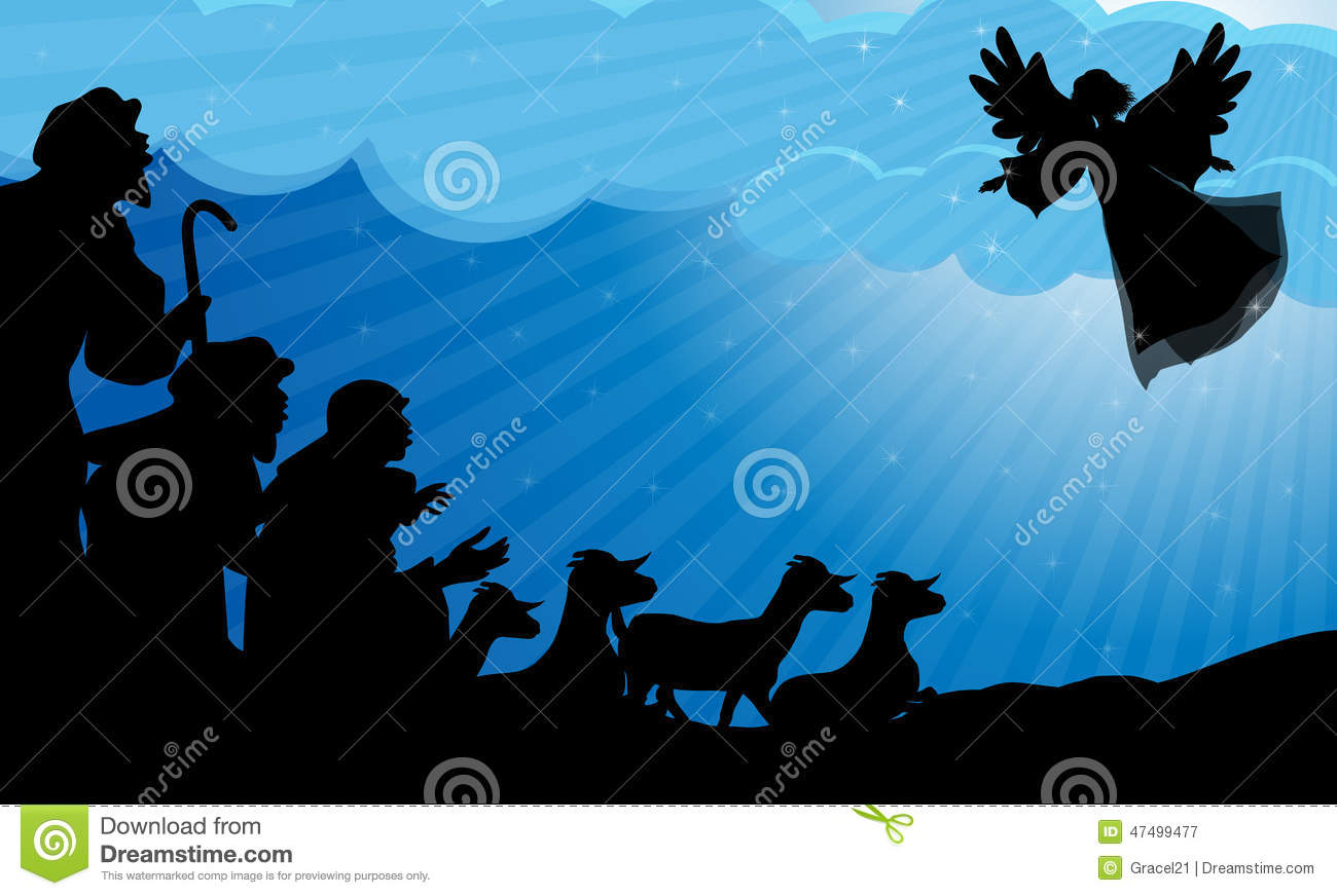 shepherds and angel silhouette stock vector image 47499477