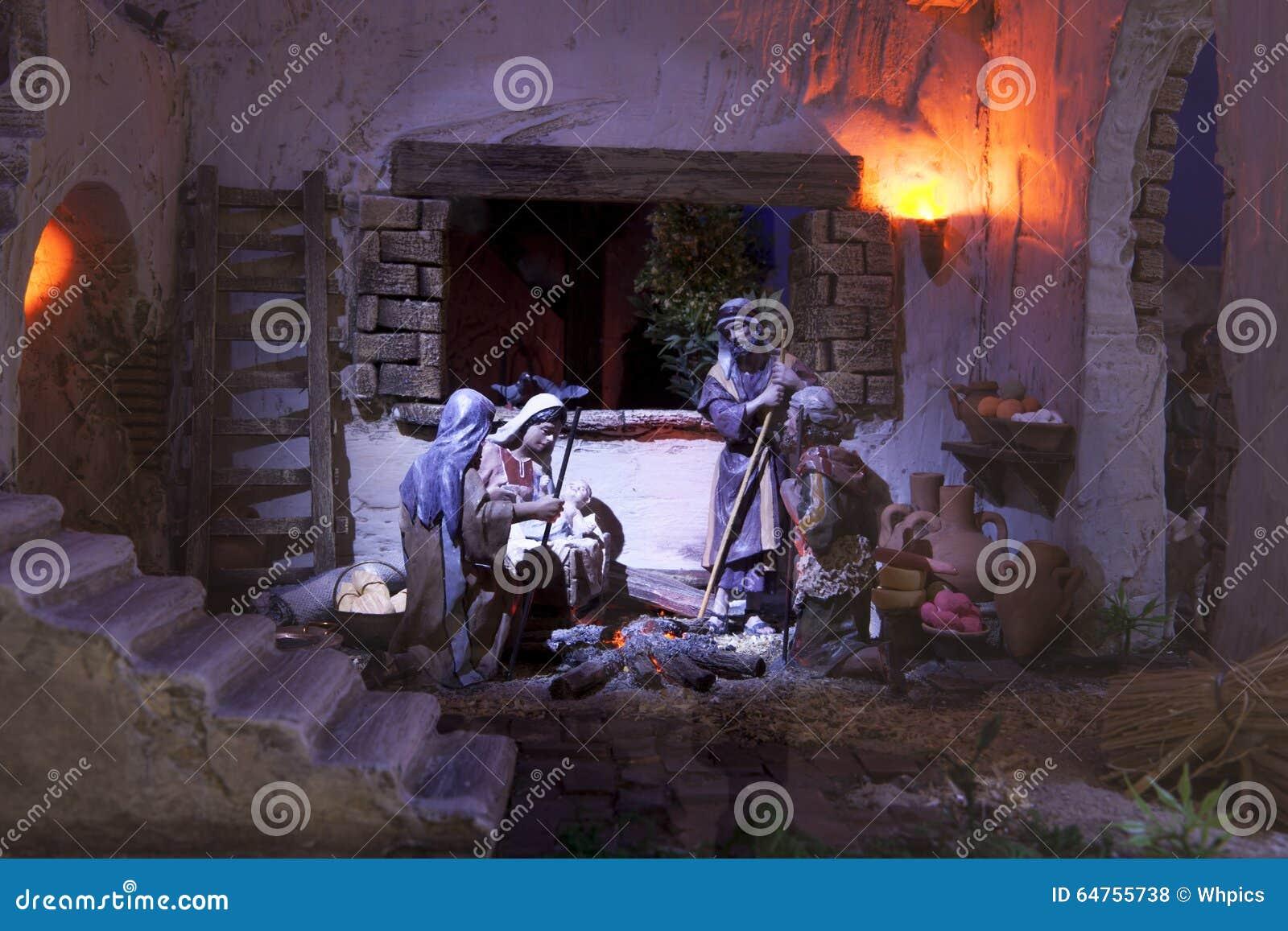 Shepherds la adoración Pesebre de la Navidad