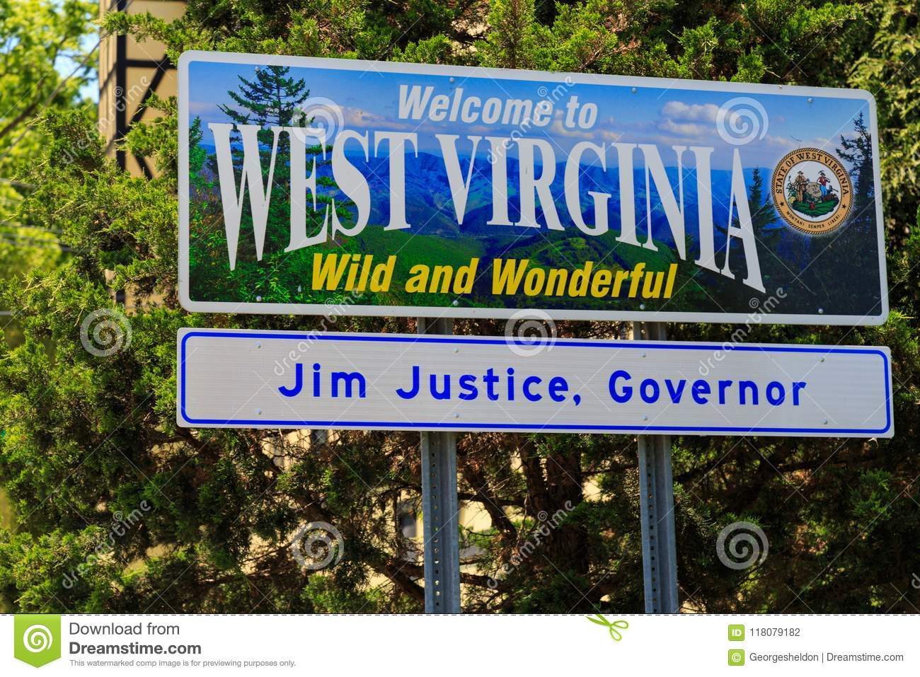 Welcome To West Virginia Sign Editorial Photography - Image of