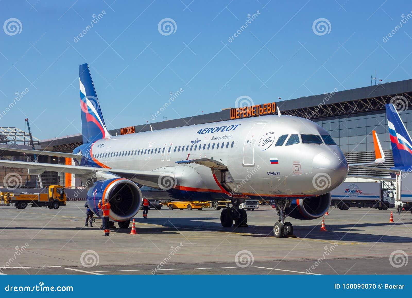 SHEREMETYEVO, MOSCOW REGION, RUSSIA - APRIL 28, 2019: Aeroflot airlines flight airplane awaits boarding passengers in Sheremetyevo