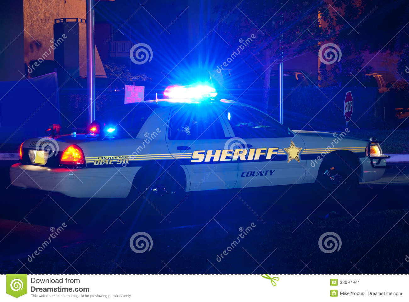 Sheriff Car At Night With Lights On Stock Image - Image of