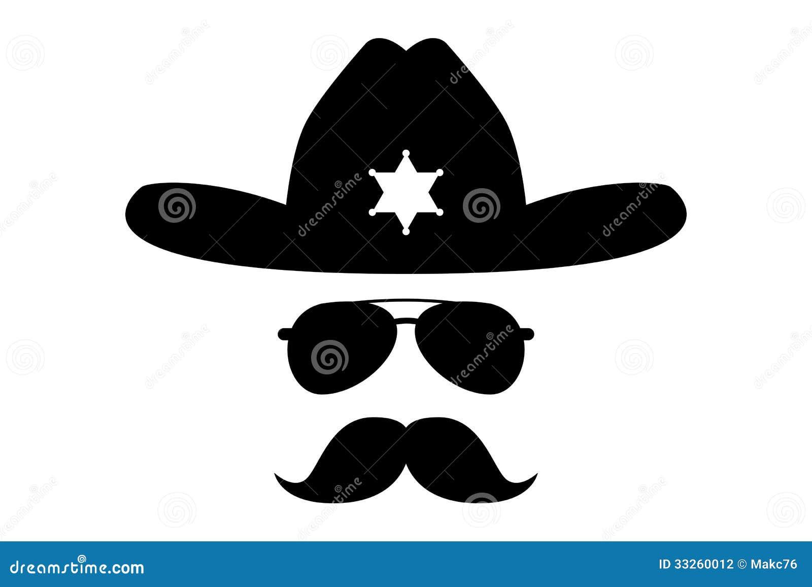 Sheriff Con El Bigote Espeso Ilustración Del Vector