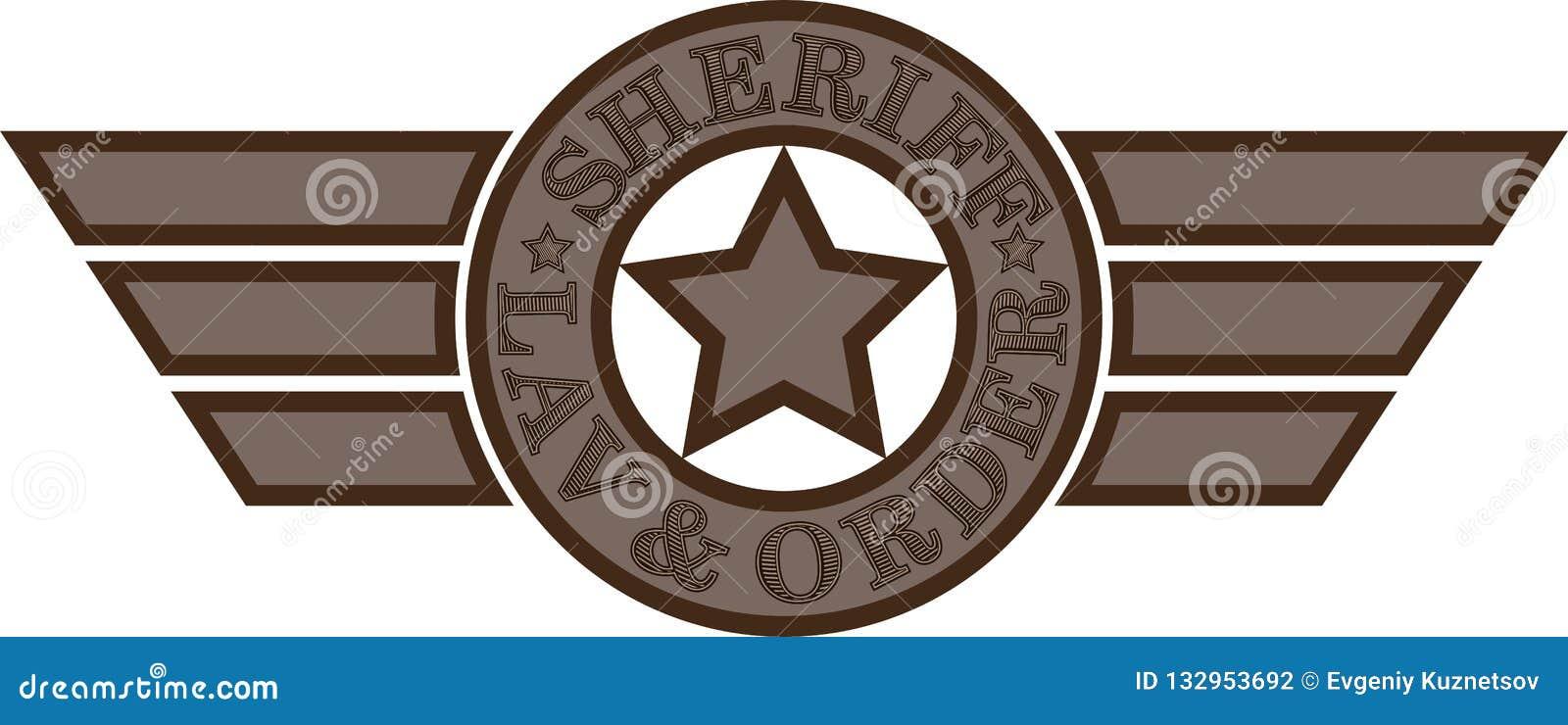 Sheriff Emblem Ster met tekst en vleugels