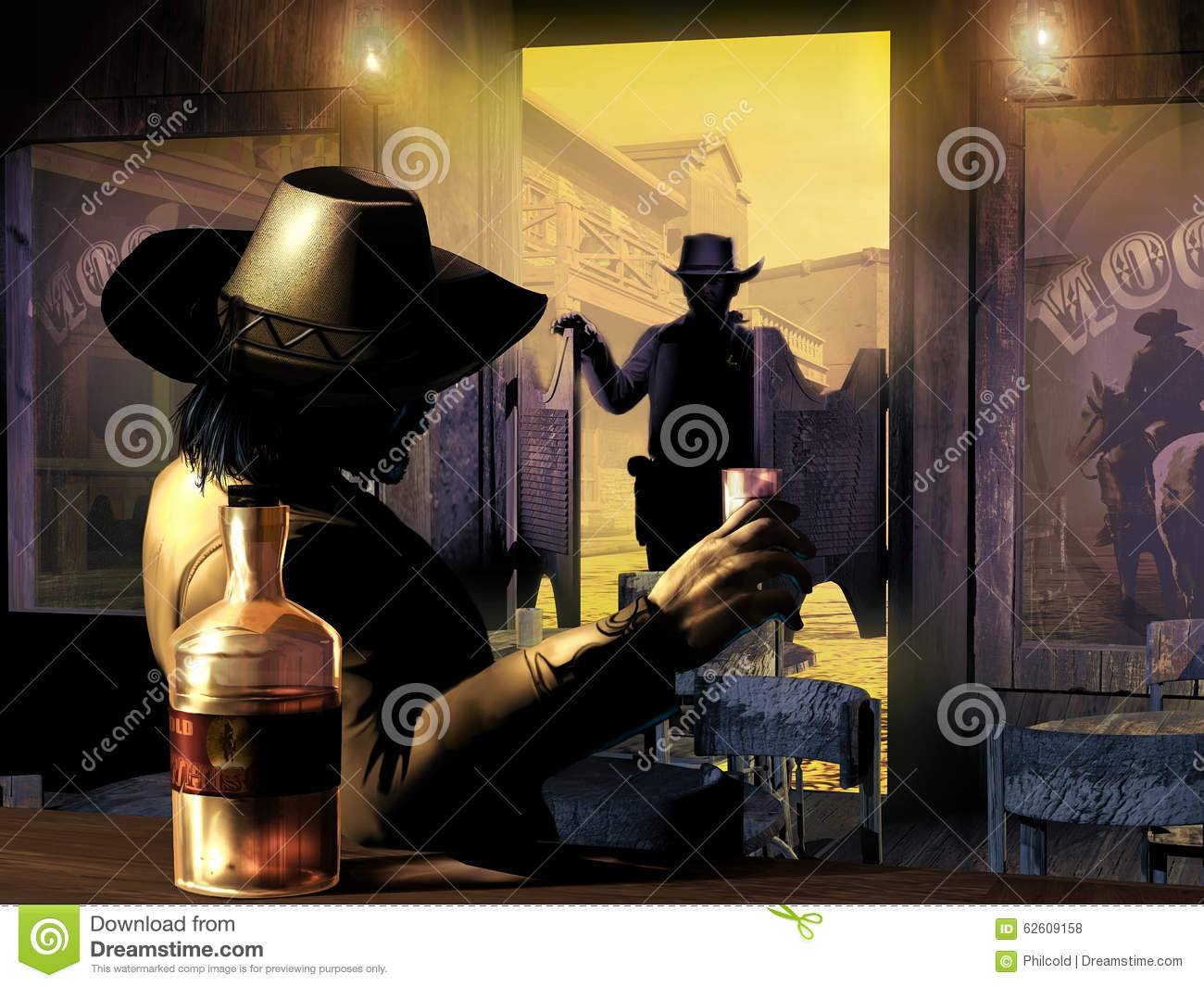 Sheriff entering in the saloon