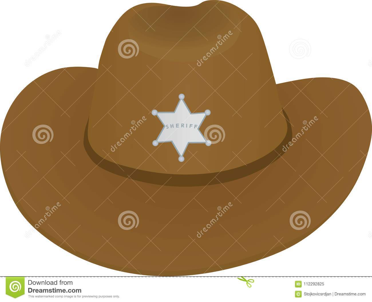 0256a2c2e Sheriff hat, front view stock vector. Illustration of rural - 112292825