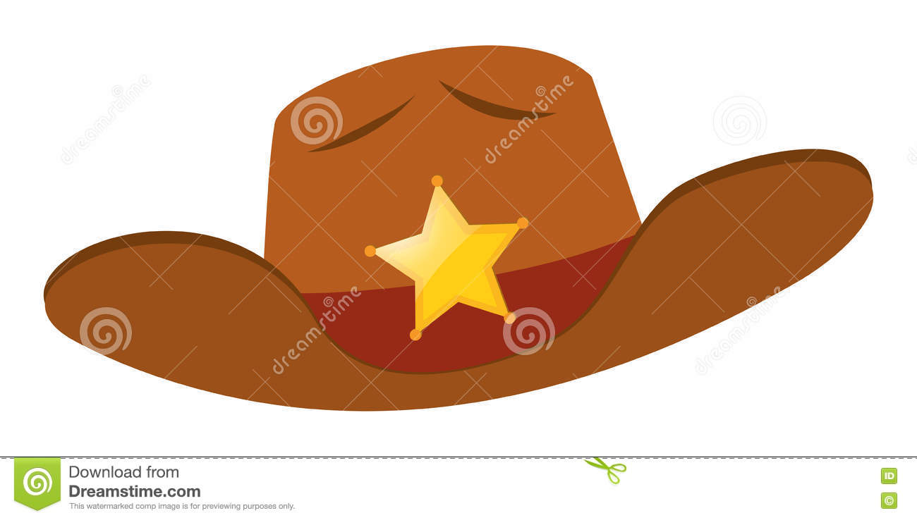 Sheriff Hat With Star Badge Stock Vector
