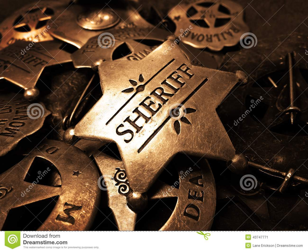 sheriff s badge tin star law enforcement stock image image of