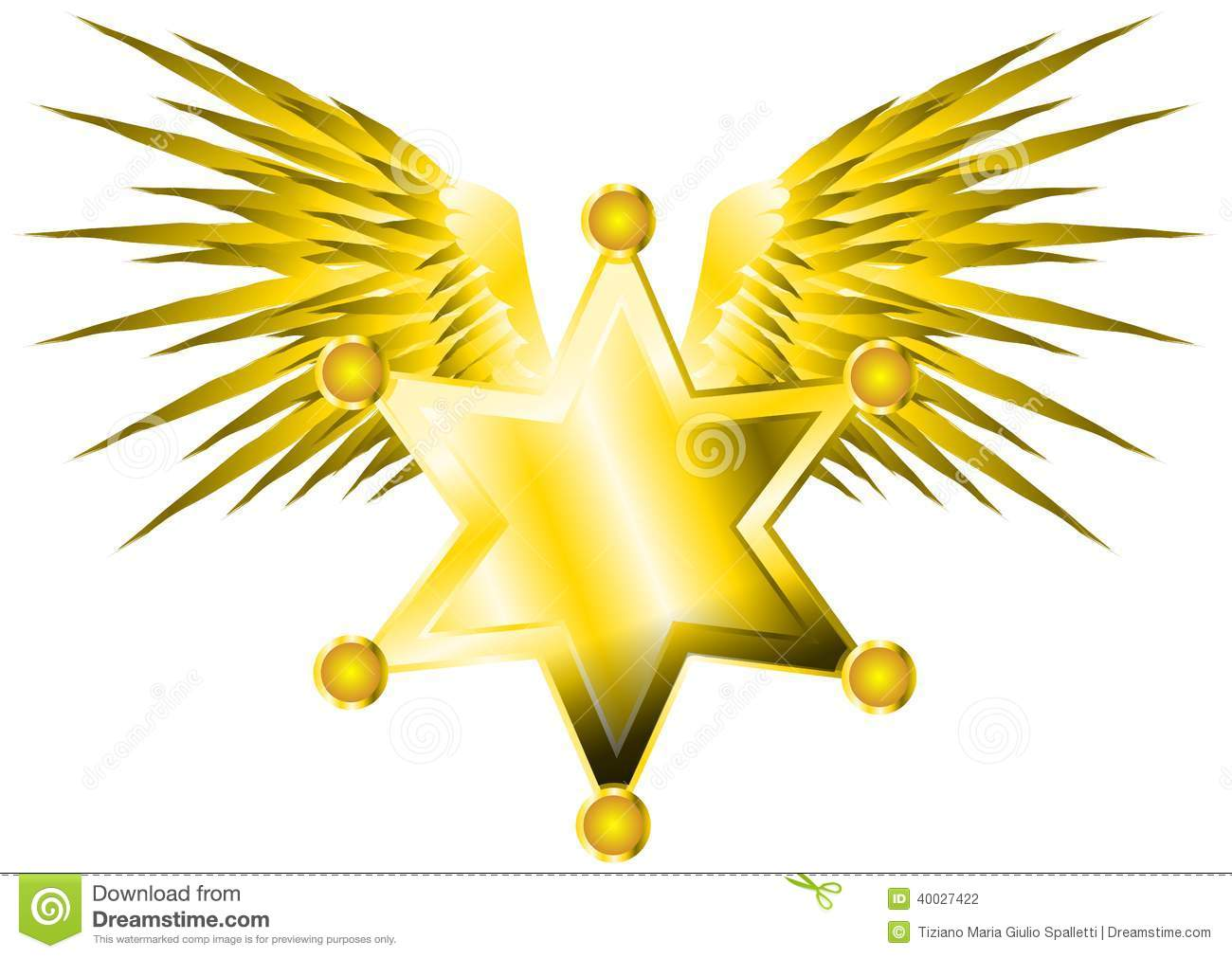 Sheriff Star With Wings Stock Illustration