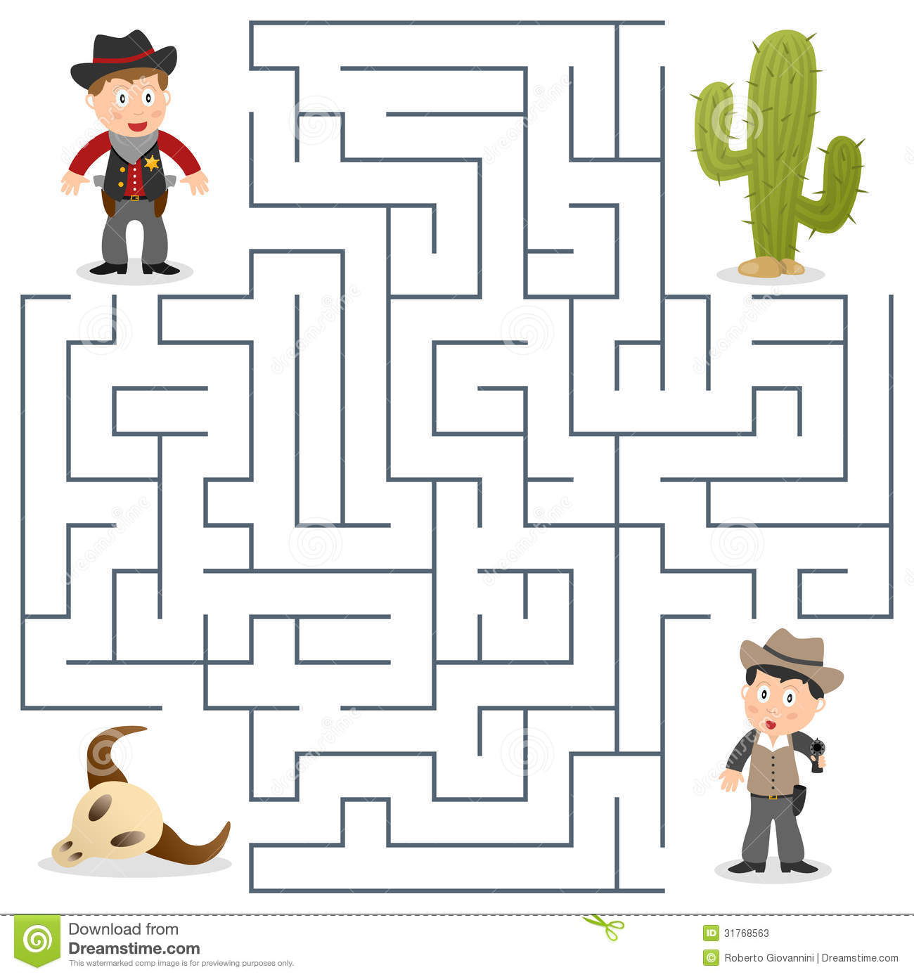 Sheriff Amp Wanted Maze For Kids Stock Vector Illustration