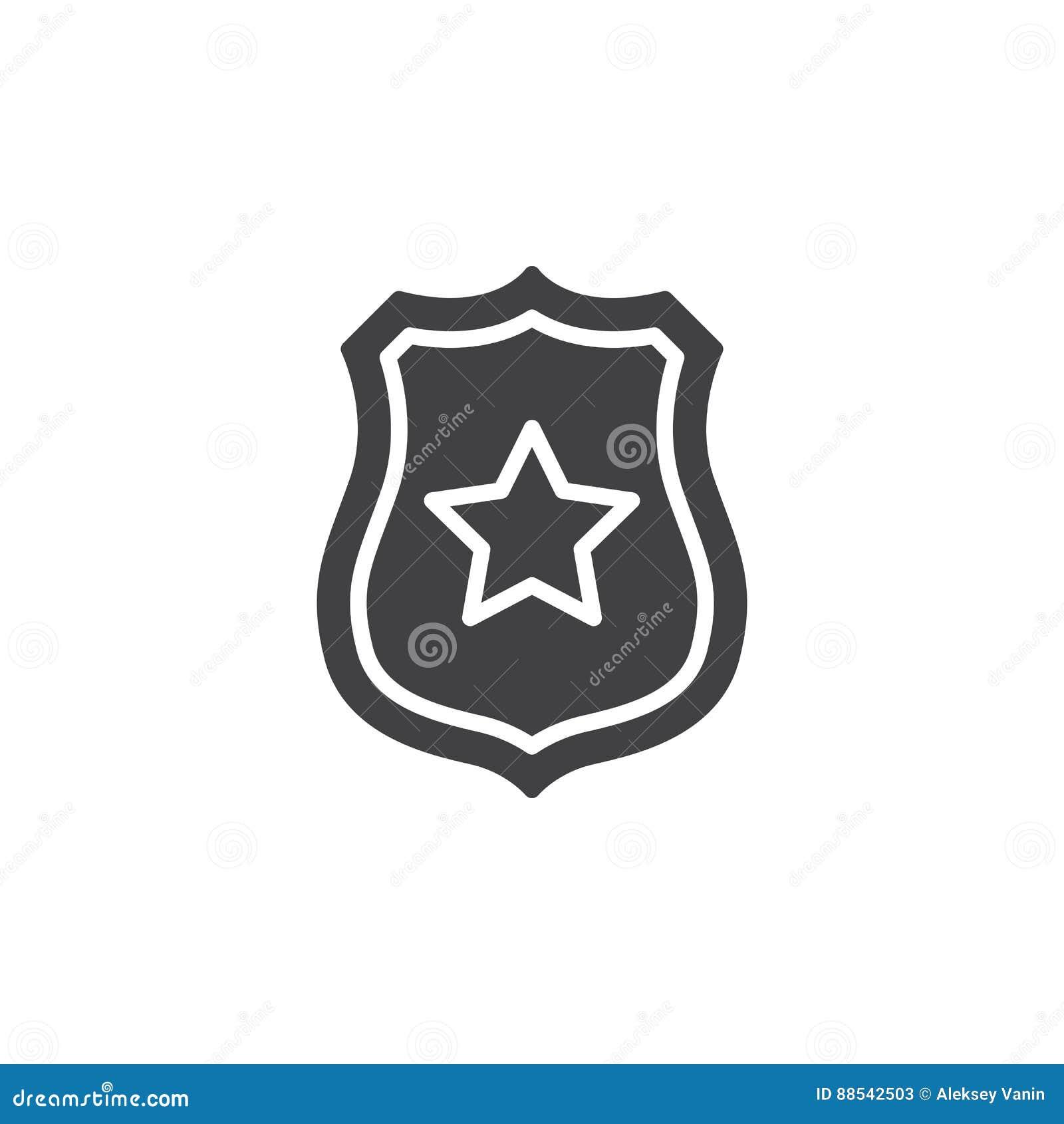 Sheriffemblem med stjärnasymbolsvektorn, fyllt plant tecken, fast pictogram som isoleras på vit