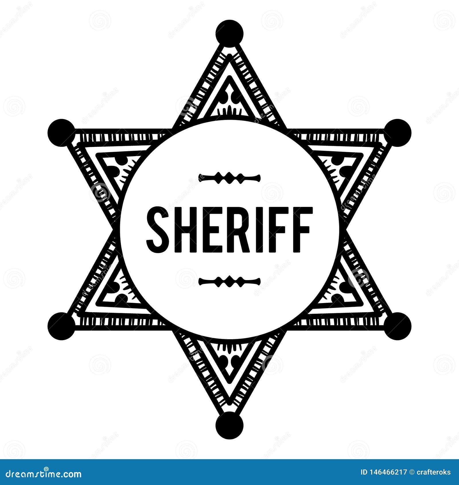 Sheriffs emblemvektor, dragen hand, vektor, Eps, logo, symbol, crafteroks, konturillustration för olikt bruk