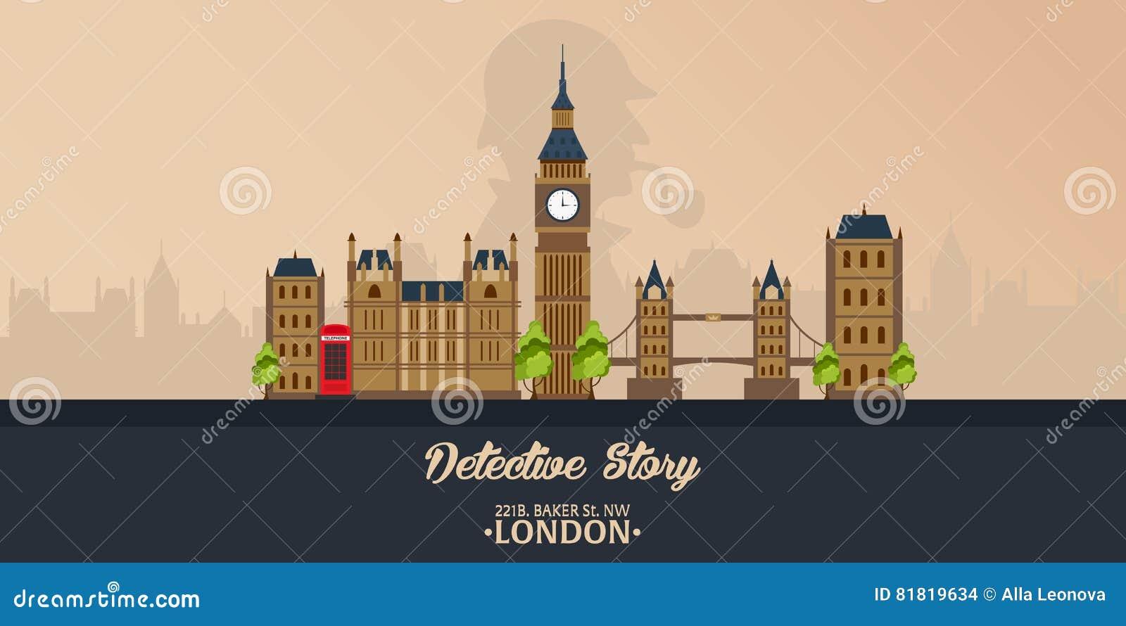 Sherlock Holmes 侦探例证 与福尔摩斯的例证 贝克街道221B 伦敦 大的禁令