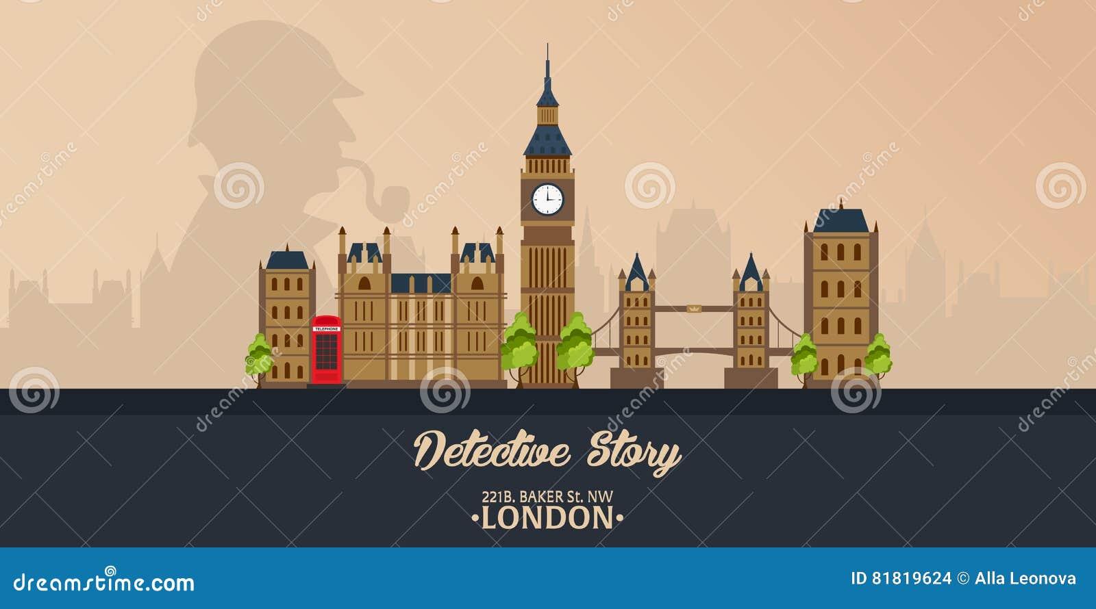 Sherlock Holmes Detektivillustration Illustration mit Sherlock Holmes Bäckerstraße 221B London GROSSES VERBOT