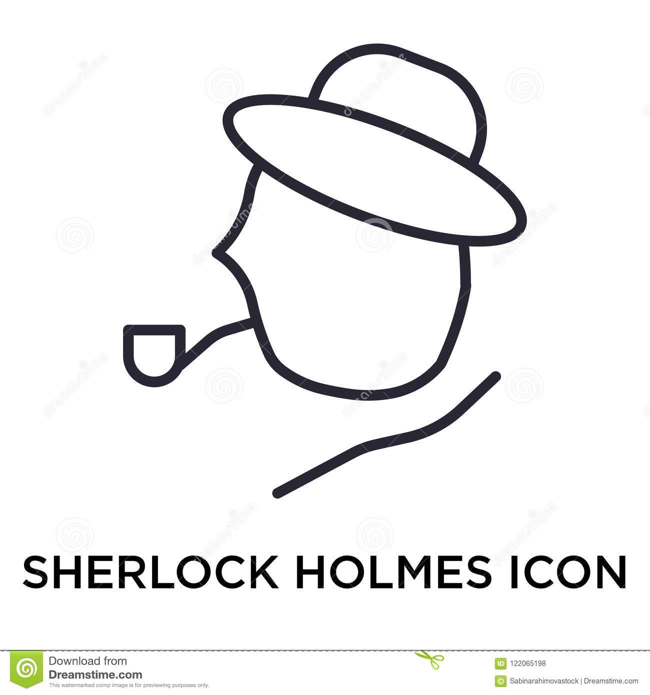 Sherlock Holmes Icon Vector Sign And Symbol Isolated On White Ba