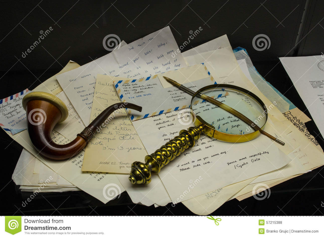Sherlock Holmes Pipe And Letters Stock Photo - Image of transport