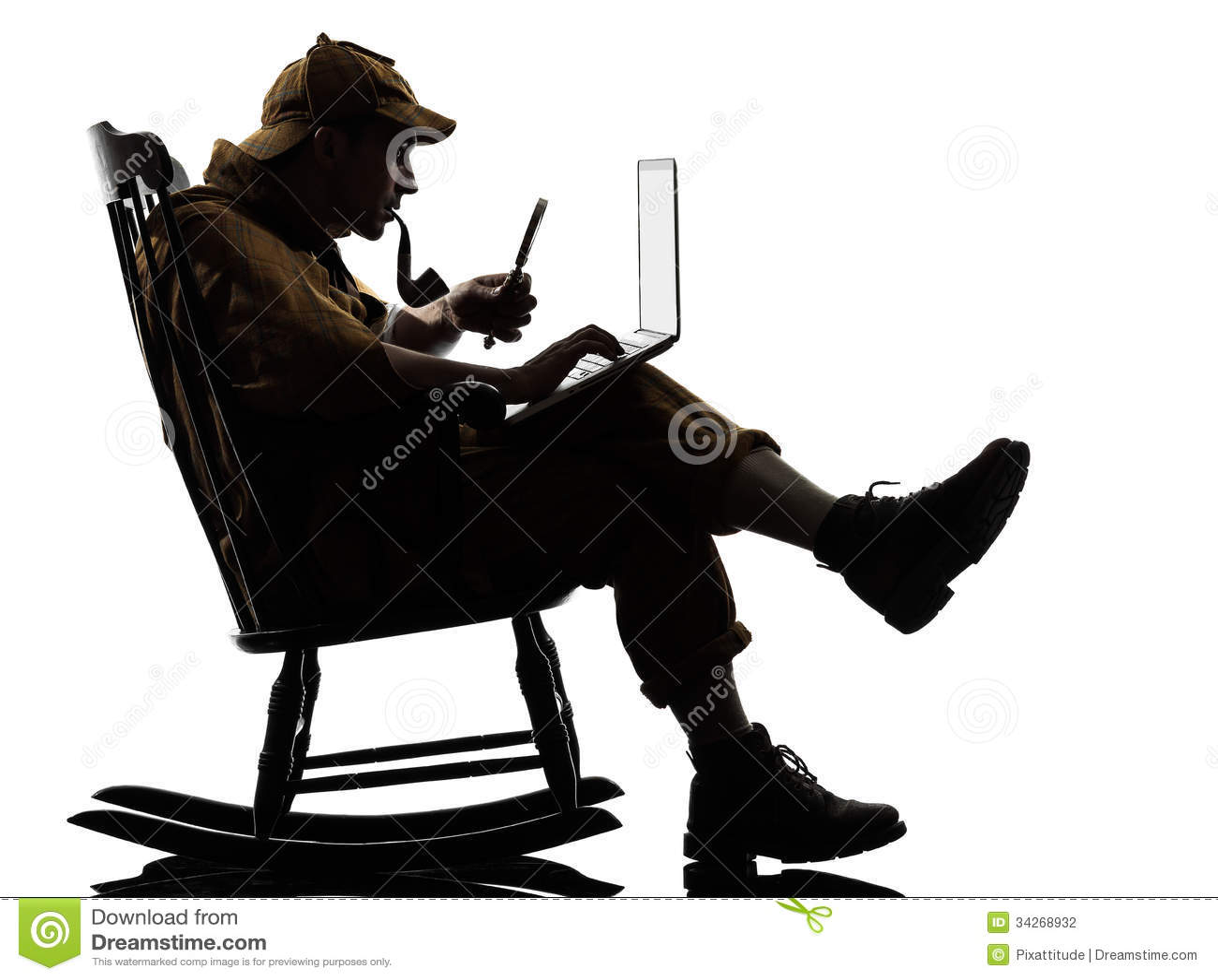 Sherlock Holmes Silhouette Computing Stock Photography  E