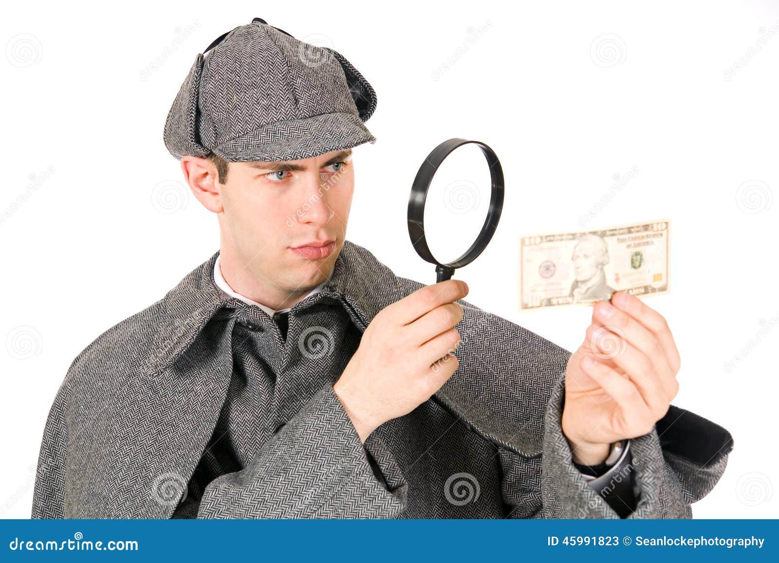 Sherlock: Neugieriger Detektiv Looks am Geld mit Lupe