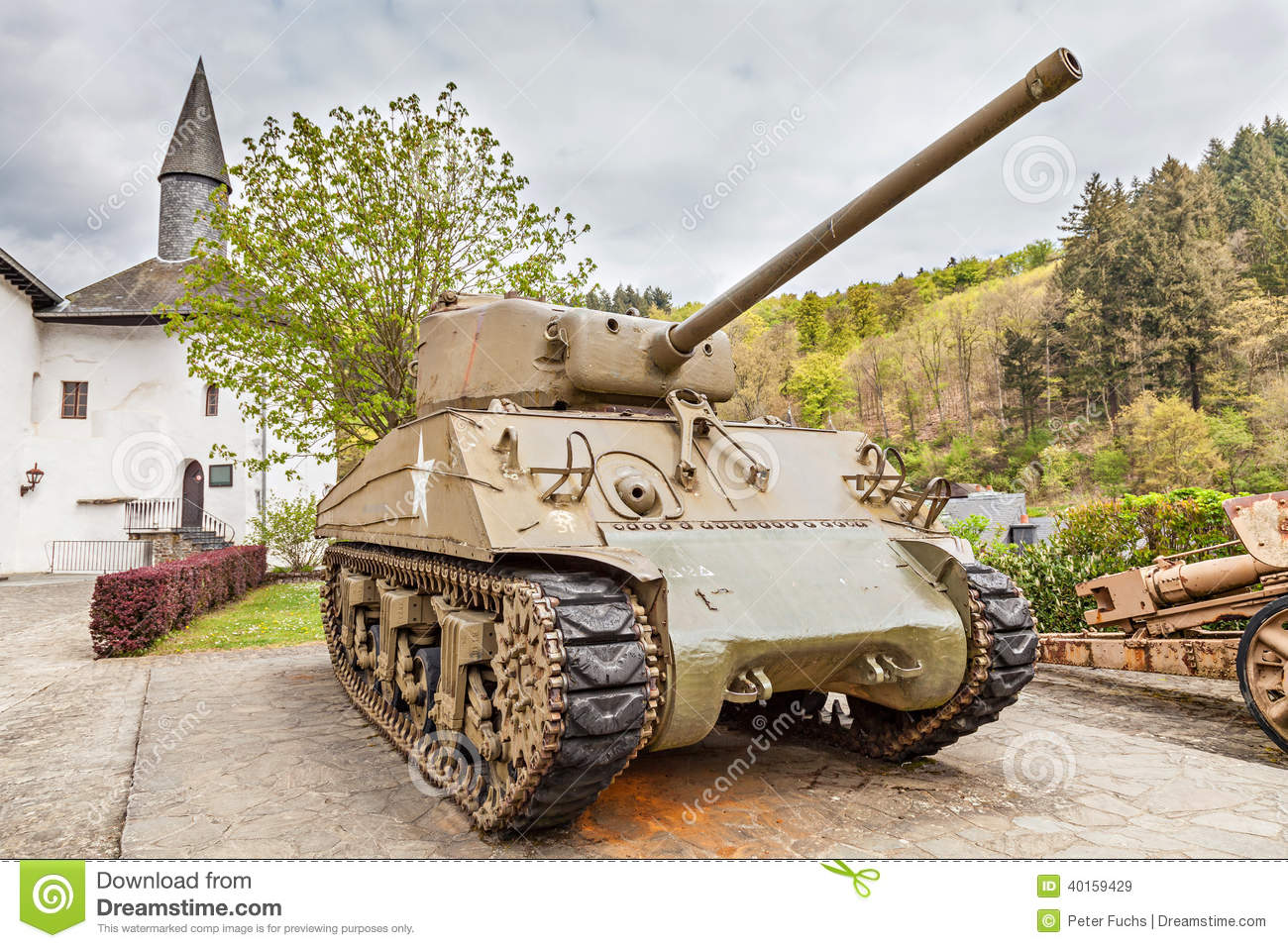 Clervaux Luxembourg  city images : CLERVAUX, LUXEMBOURG APRIL 26, 2014: Old US Sherman tank at the ...