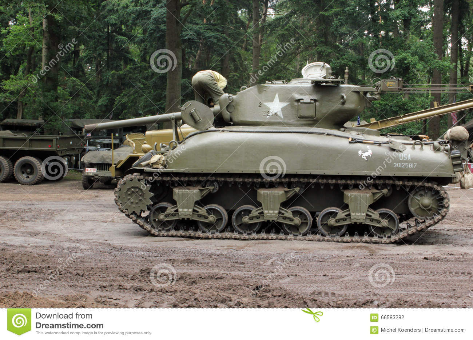 Sherman tank starting up engine