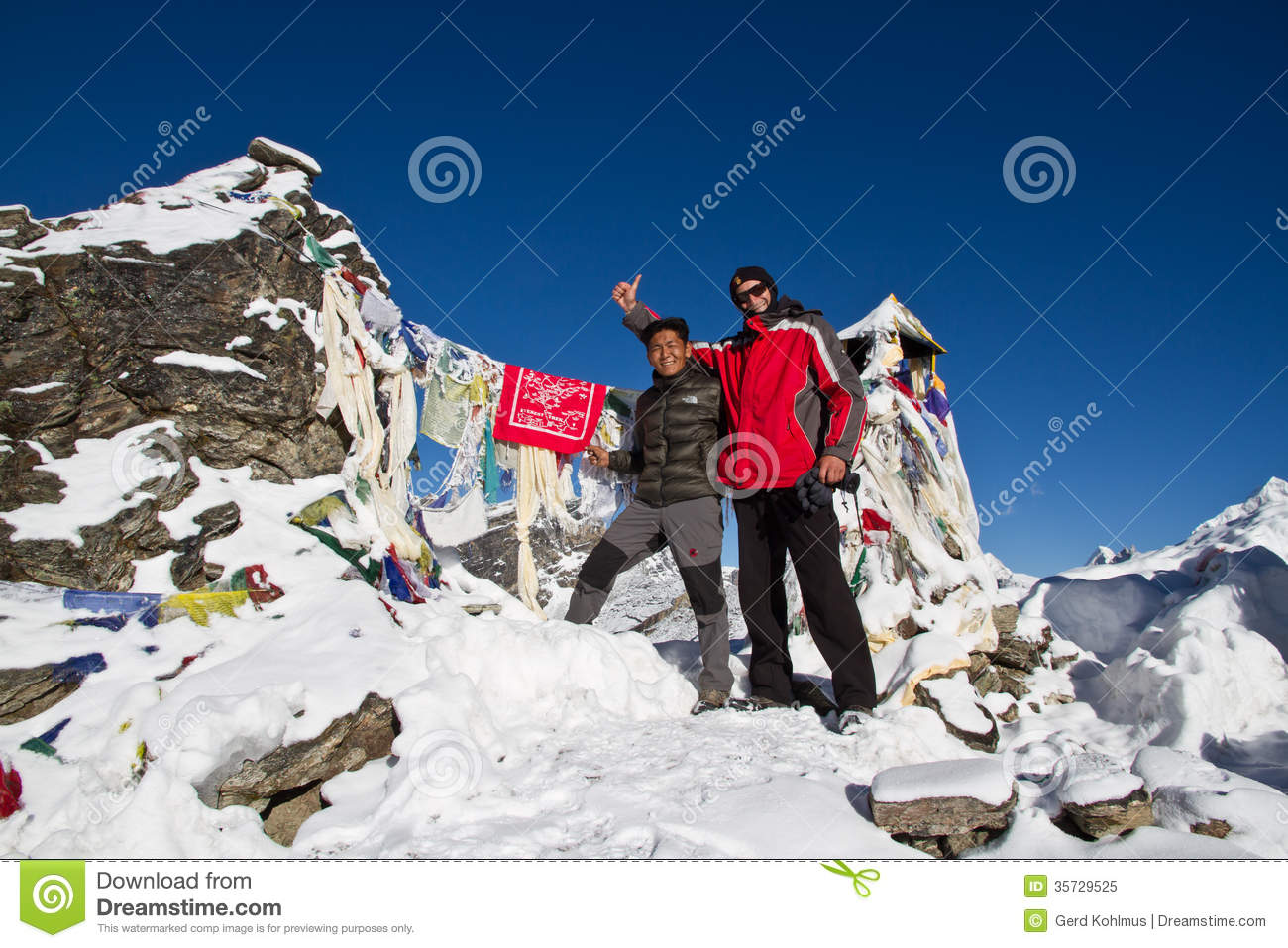 Sherpa And Climber On Summit Editorial Image - Image: 35729525