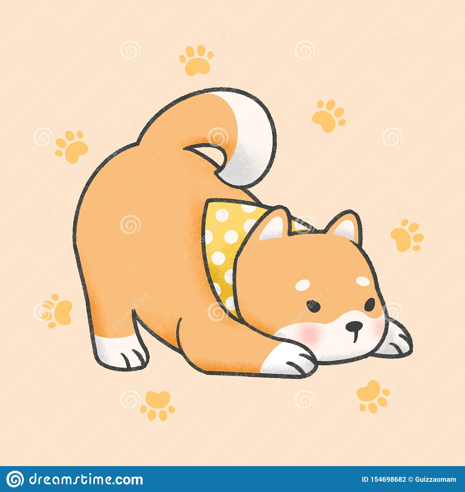 Shiba Inu Dog Cartoon Hand Drawn Style Stock Illustration Illustration Of Love Doodle 154698682