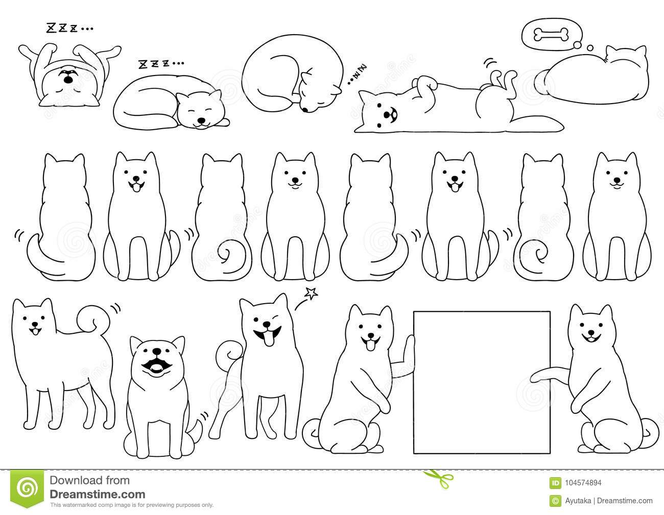 Drawing Lines Between Html Elements : Shiba cartoons illustrations vector stock images