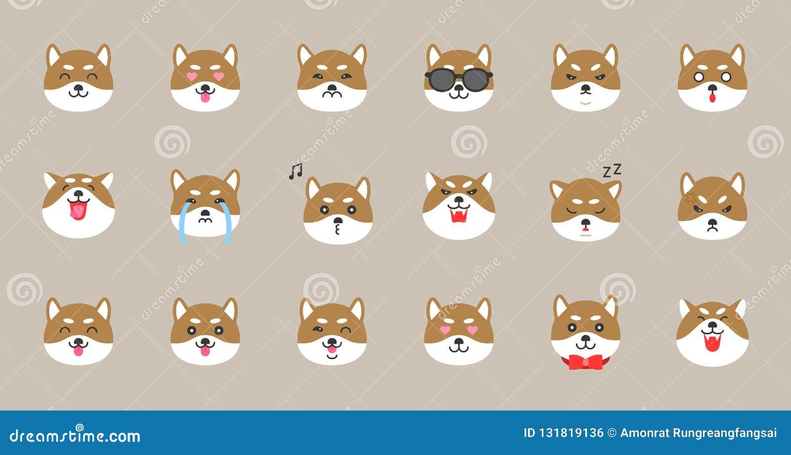 Shiba inu emoticon, mieszkanie stylowa wektorowa ilustracja