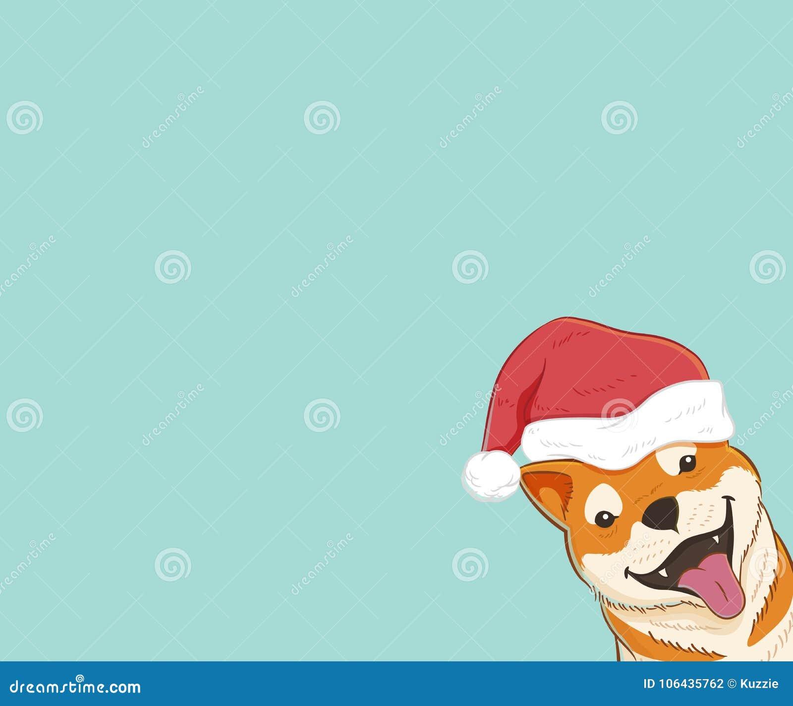 Shiba Inu Mit Weihnachtshut Vektor Abbildung - Illustration von ...
