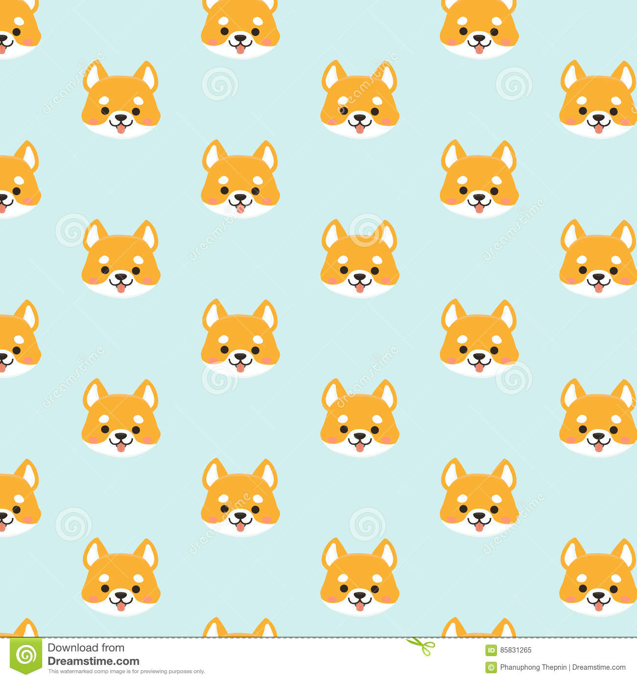 Shiba Inu Seamless Pattern Stock Vector Illustration Of Element Simple 85831265