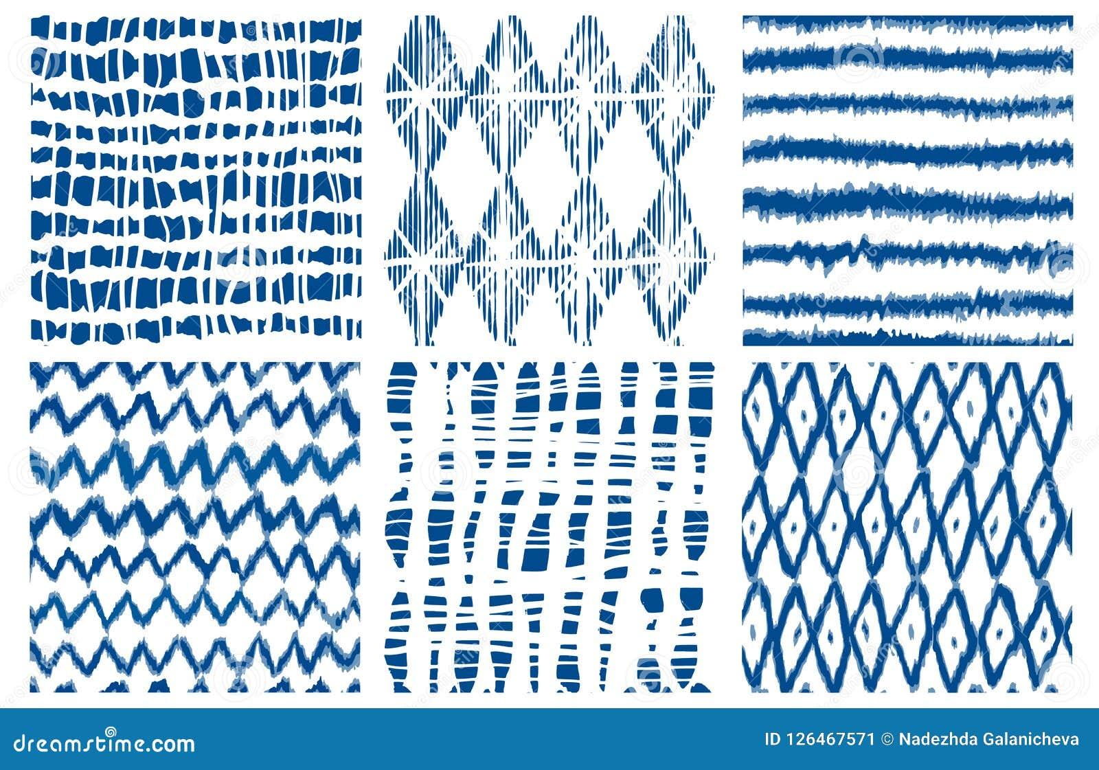 Shibori barwidła krawata geo wektorowy bezszwowy deseniowy indygowy Royalty Ilustracja