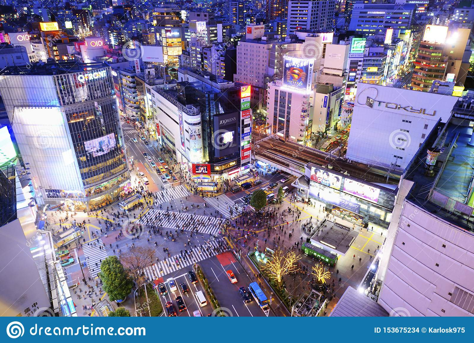 Shibuya som korsar Tokyo Japan