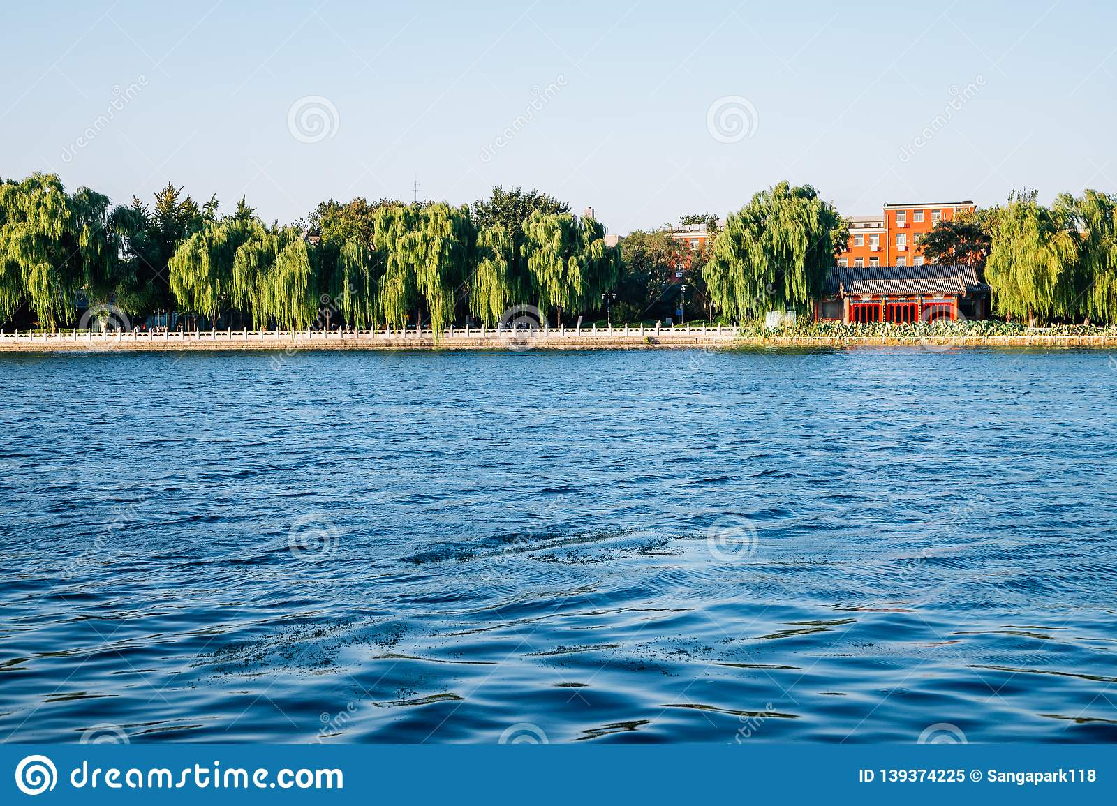 Shichahai Houhai lake and Chinese traditional pavilion in Beijing, China